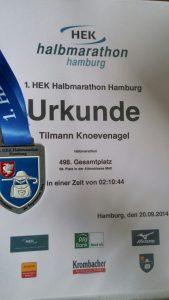 1. HEK Halbmarathon Urkunde