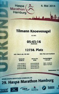 29. HASPA Marathon Hamburg Urkunde
